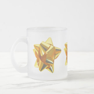Gold Bow, Gift, Holiday Christmas Ornaments Coffee Mugs
