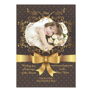 Gold Bow Photo Holiday Card