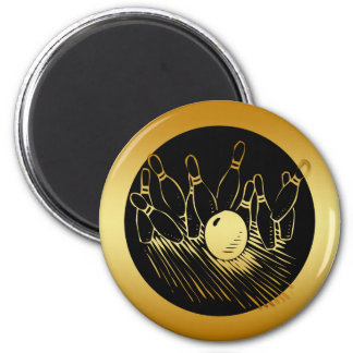 GOLD BOWLING STRIKE 2 INCH ROUND MAGNET