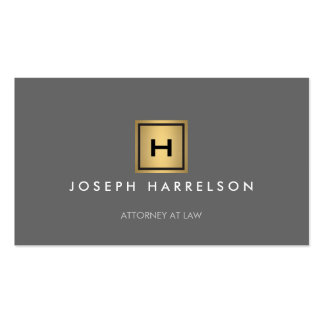 GOLD BOX LOGO with YOUR INITIAL/MONOGRAM on Gray Double-Sided Standard Business Cards (Pack Of 100)