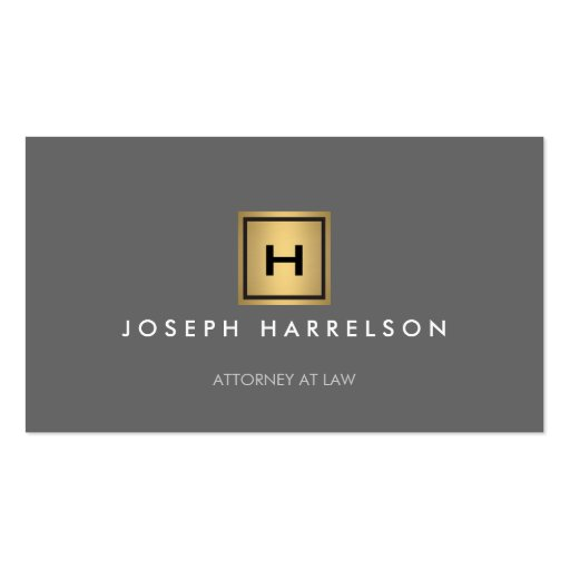GOLD BOX LOGO with YOUR INITIAL/MONOGRAM on Gray Business Card Template