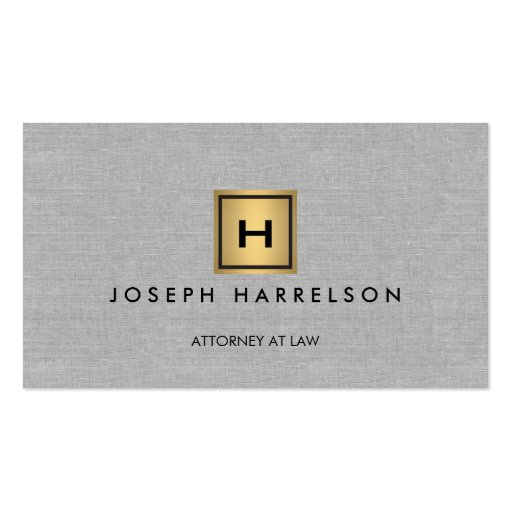 GOLD BOX LOGO with YOUR INITIAL/MONOGRAM on Linen Business Cards