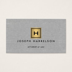 Gold Box Logo With Your Initial/monogram On Linen Business Card at Zazzle