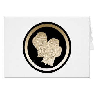 GOLD BOXING GLOVES GREETING CARD