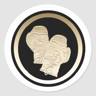 GOLD BOXING GLOVES CLASSIC ROUND STICKER