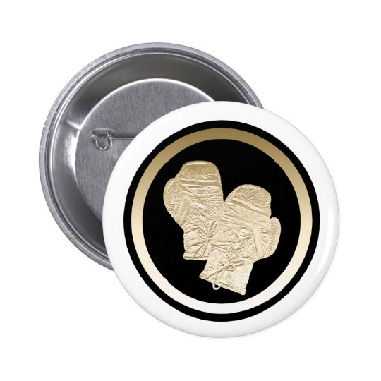 GOLD BOXING GLOVES PINBACK BUTTON