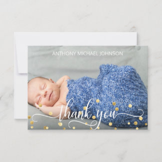 Gold BOY Baby Shower THANK YOU | PHOTO   TEXT