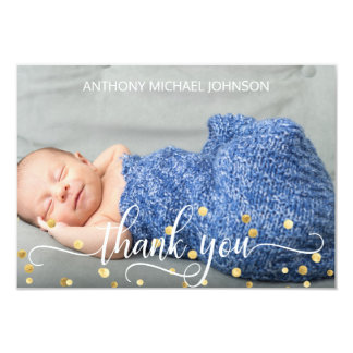 Gold BOY Baby Shower THANK YOU | PHOTO + TEXT Card