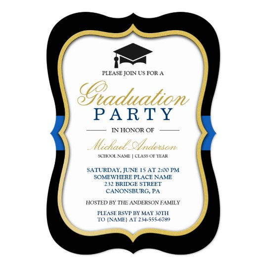 gold bracket frame modern 2019 graduation party invitation