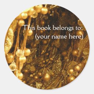 Gold branches bookplate classic round sticker