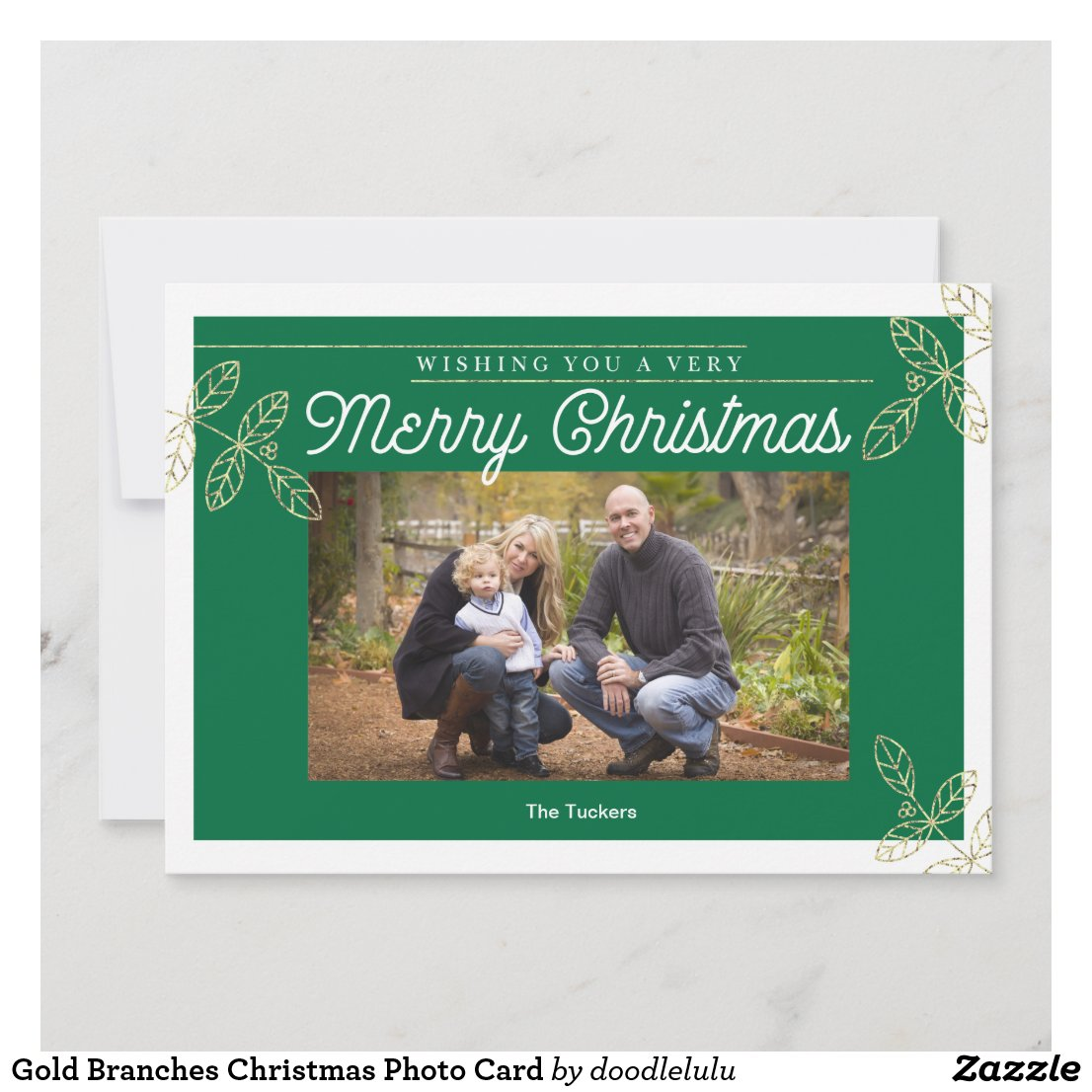 Gold Branches Christmas Photo Card