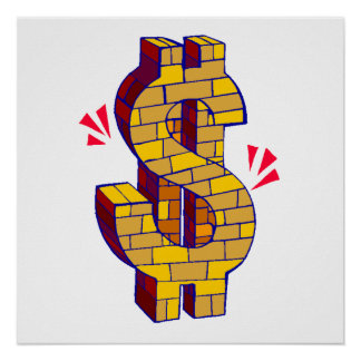 Gold Brick Dollar Sign Poster