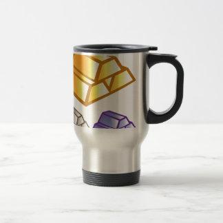 Gold bricks vector travel mug