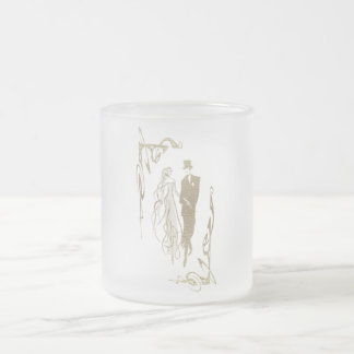 Gold Bride and Groom Wedding Art Frosted Glass Coffee Mug