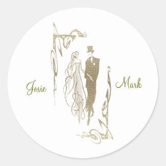 Gold Bride and Groom Wedding Art Sticker