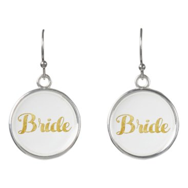 Bride Themed Gold bride earrings