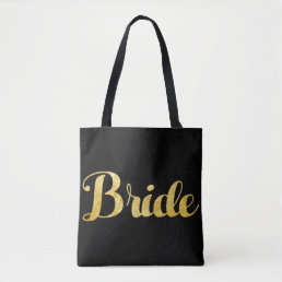 Gold bride tote bag