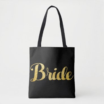 Bride Themed Gold bride tote bag