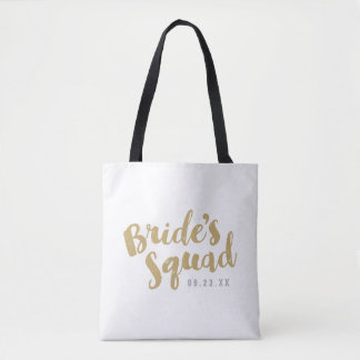 Gold Bride's Squad Personalized Bridal Party Totes