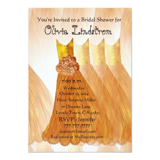 GOLD Bridesmaid Dresses Bridal Shower Invitation