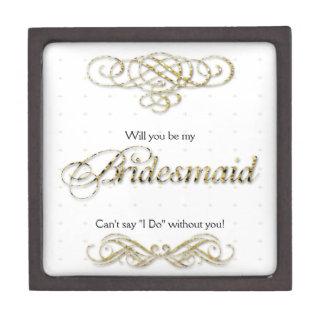 Gold Bridesmaid Scroll Keepsake Gift Box