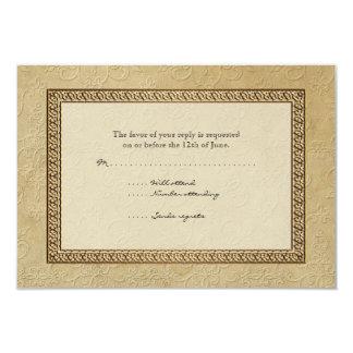 """Gold Brocade Damask Floral Formal Elegant RSVP 3.5"""" X 5"""" Invitation Card"""