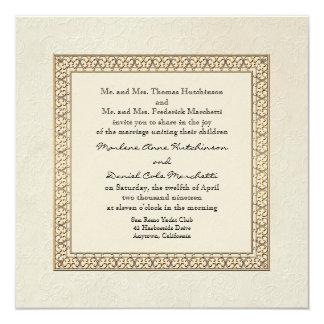 """Gold Brocade Damask Floral Formal Elegant Wedding 5.25"""" Square Invitation Card"""