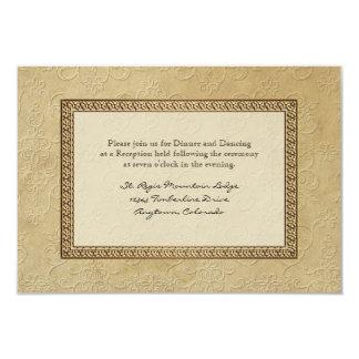 Gold Brocade Damask Floral Formal Reception Invite
