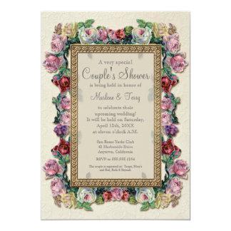 """Gold Brocade Floral Formal Elegant Bridal Shower 5"""" X 7"""" Invitation Card"""