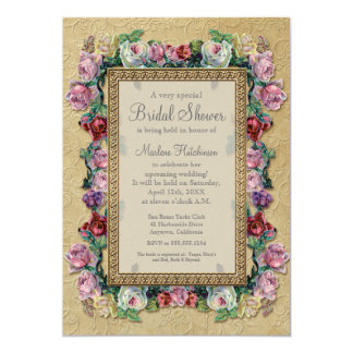 Gold Brocade Floral Formal Elegant Bridal Shower Personalized Announcement