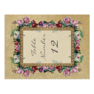 Gold Brocade Floral Formal Elegant Table Numbers Post Cards