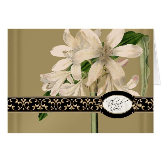 Gold Brocade Floral Formal Elegant Thank You Notes Greeting Card
