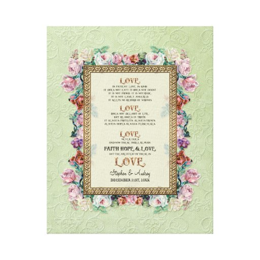 Gold Brocade Floral Love is Wedding Personalized Gallery Wrap Canvas