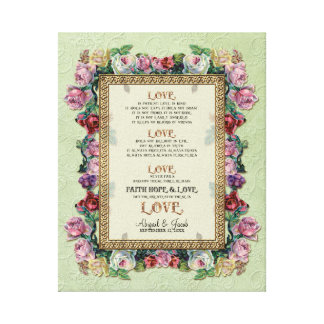 Gold Brocade Floral Love is Wedding Personalized Stretched Canvas Prints