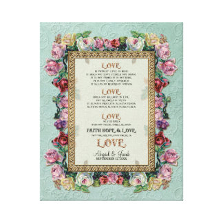 Gold Brocade Floral Love is Wedding Personalized Gallery Wrapped Canvas