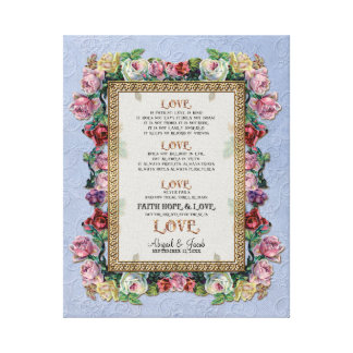 Gold Brocade Floral Love is Wedding Personalized Stretched Canvas Print