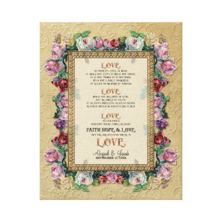 Gold Brocade Floral Love is Wedding Personalized Canvas Print