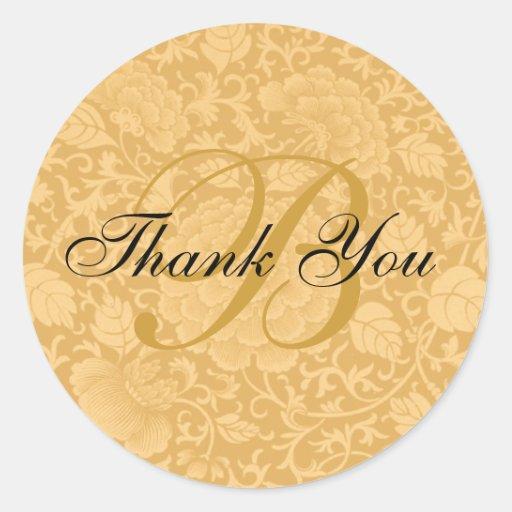 Gold Brocade Wedding Thank You Round Stickers