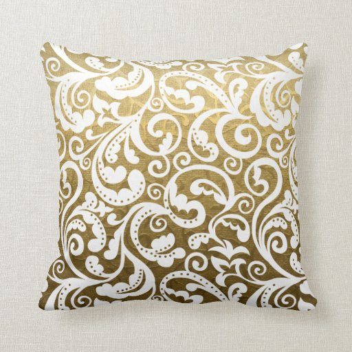 Gold brocade, white damask floral pattern throw pillow Zazzle