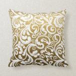Gold brocade, white damask floral pattern throw pillows