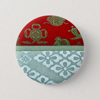 Gold brocade with red background pinback button