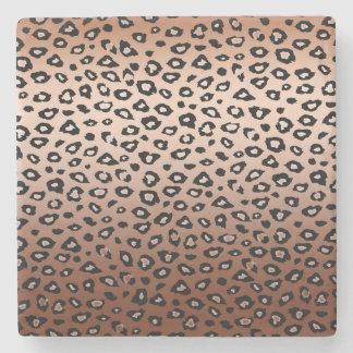 Gold Bronze Black Leopard Print Ombre Stone Coaster