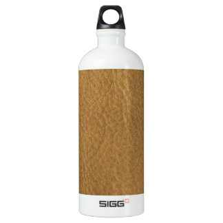 Gold Bronze Leather Texture Aluminum Water Bottle