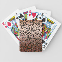 Gold Bronze Leopard Print Bicycle Playing Cards