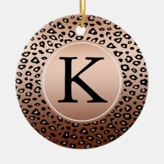 Gold Bronze Leopard Print monogram Ceramic Ornament