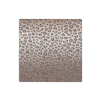 Gold Bronze Leopard Print Stone Magnet