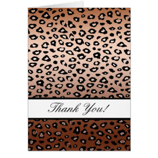 Gold Bronze Leopard Print Thank You Stationery Note Card