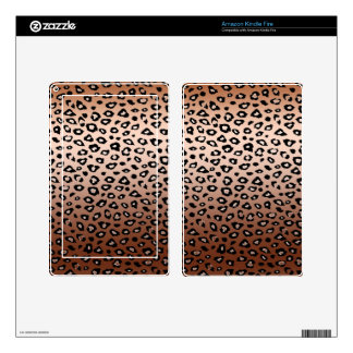 Gold Bronze Ombre Leopard Print Skin For Kindle Fire