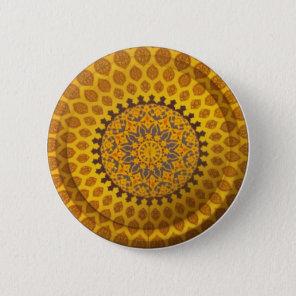 Gold Bronze Persian Motif Pinback Button