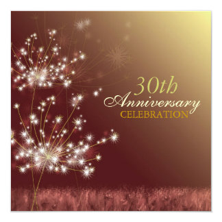 Gold   Brown 30th Fall Wedding Anniversary Party Card